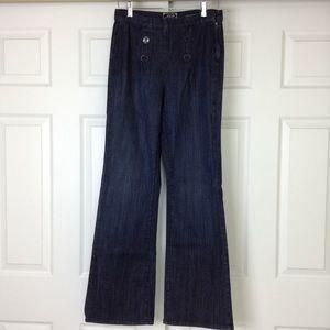 NYDJ Sailor Jeans Wide Leg Dark Wash SZ 6